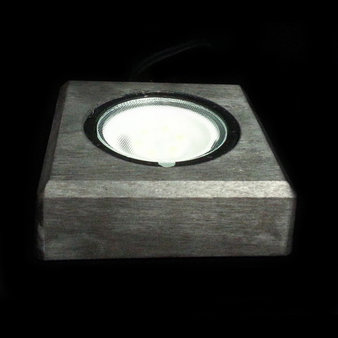 Belysning i svart trä, kallvit eller varmvit, utbytbar LED, 90x90 mm