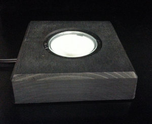 Lighting wooden, white or yellowish replaceable LED, 110x110 mm