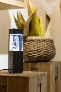 Exclusive 3D Lighting Column of BLACK or CERAMIC COLORED Wood with Crystal Block 90x60x50mm (vertical). FREE SHIPPING WITHIN SWEDEN. PLEASE NOTE: DELIVERY TIME IS 2 WEEKS