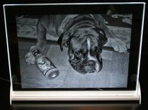Photo engraved in Optiwhite Glass 225x165x10 mm incl. LED Lighting.