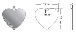 Heart Large 35x32x2.4mm Silver, Strass (TEMPORARILY OUT OF STOCK)