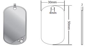Bricka stor 30x50x2mm silver med strass