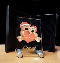 Merry Kissmas Kristallbild i färg 90x130x8mm  med aluminiumställ